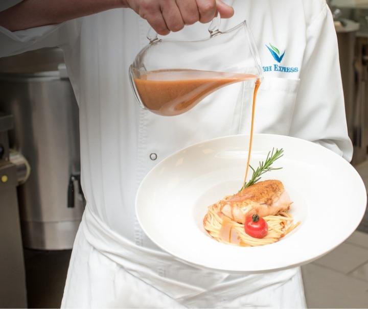 Salmon with pasta